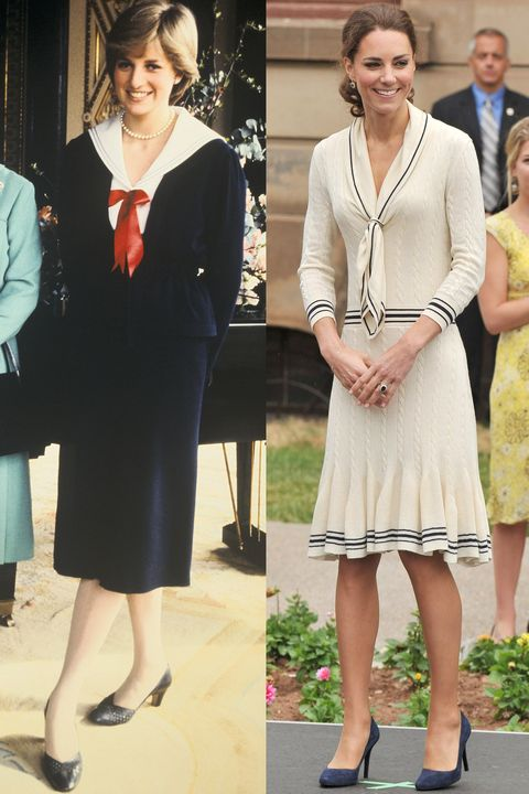 Diana at Buckingham Palace in 1980; Kate wearing Alexander McQueen in Charlottetown, Canada during the Royal Tour of North America in July 2011.