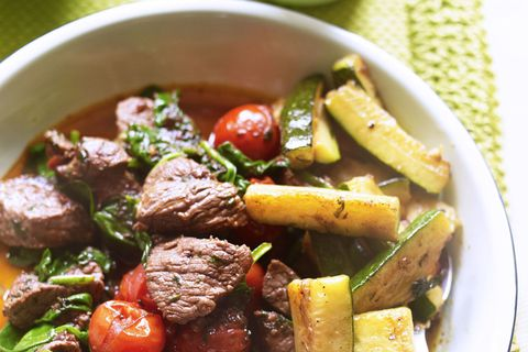 Spicy lamb with griddled courgettes