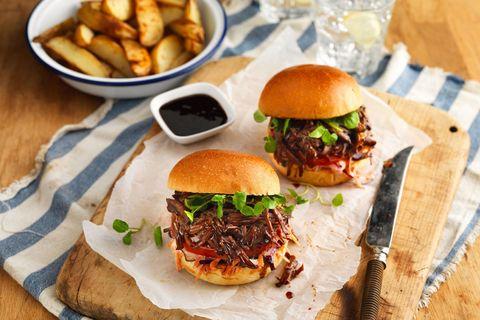 Beef brisket barbecue burgers