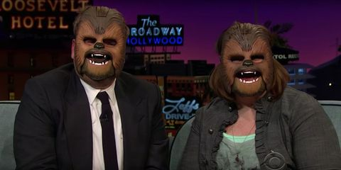 James Corden and Chewbacca on the Late Late Show