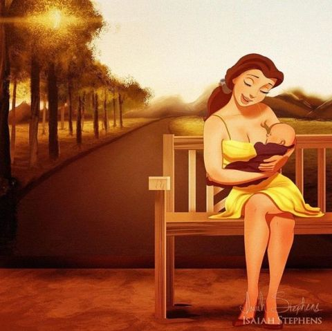Belle Beauty and the Beast, breastfeeding