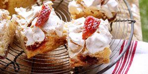 Almond, lemon and strawberry meringue cake