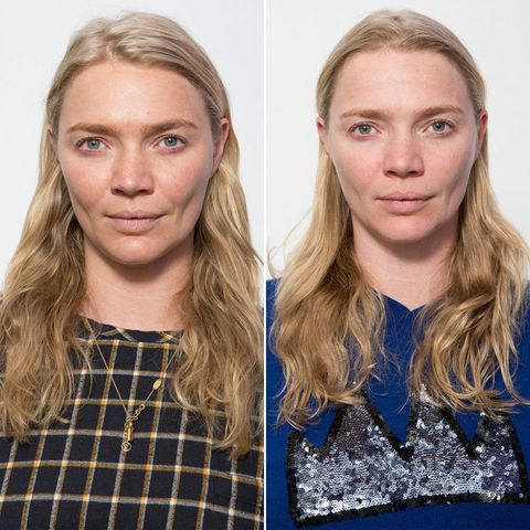 Left: Jodie after 8 hours' sleep; Right: Jodie after 6 hours' sleep