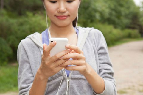 woman phone running