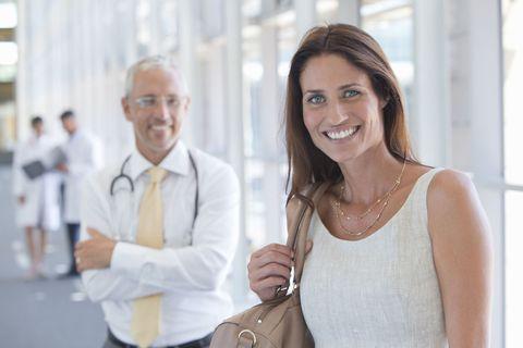 woman happy hospital