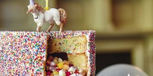 unicorn pinata cake, birthday cake
