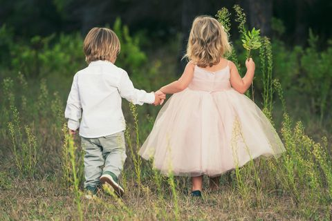 Grass, Dress, Child, People in nature, Summer, Baby & toddler clothing, Toddler, Holding hands, Grass family, Day dress,