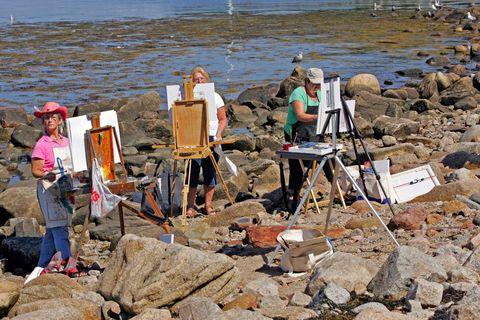 Rock, Shore, Bedrock, Rubble, Tripod, Beach, Folding chair, Boot,