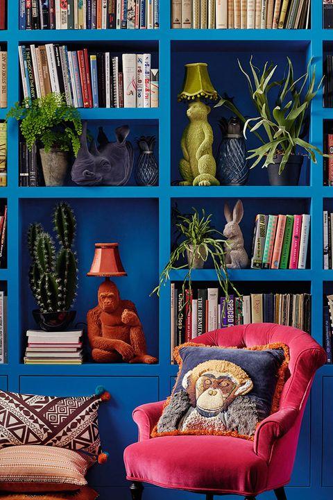 Shelf, Shelving, Publication, Interior design, Interior design, Bookcase, Majorelle blue, Book, Houseplant, Natural material,