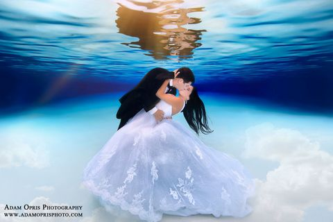 People in nature, Interaction, Dress, Gown, Romance, Love, Wedding dress, Aqua, Bridal clothing, Flash photography,