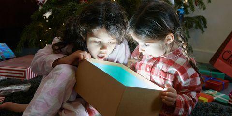 Christmas decoration, Child, Holiday, Christmas ornament, Christmas eve, Christmas, Cardboard, Interior design, Box, Christmas tree,