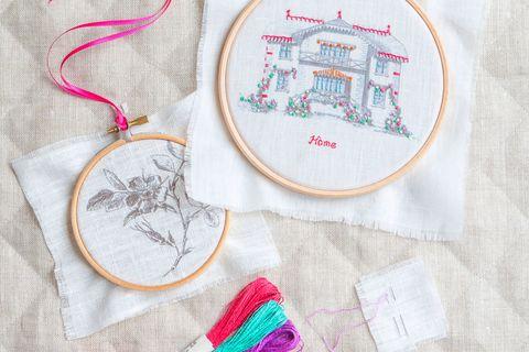 Textile, Pattern, Embroidery, Pink, Magenta, Needlework, Creative arts, Craft, Stitch, Circle,