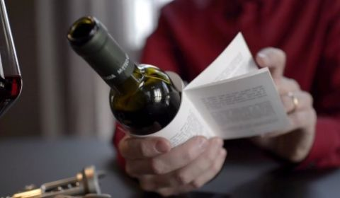Wine bottle with story attached
