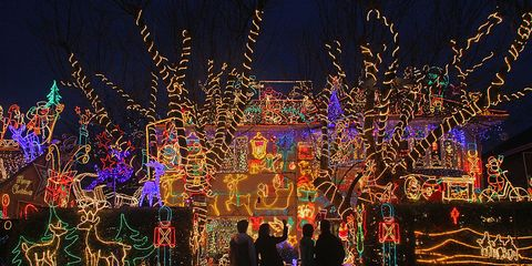 Houses with bright and extravagant Christmas lights