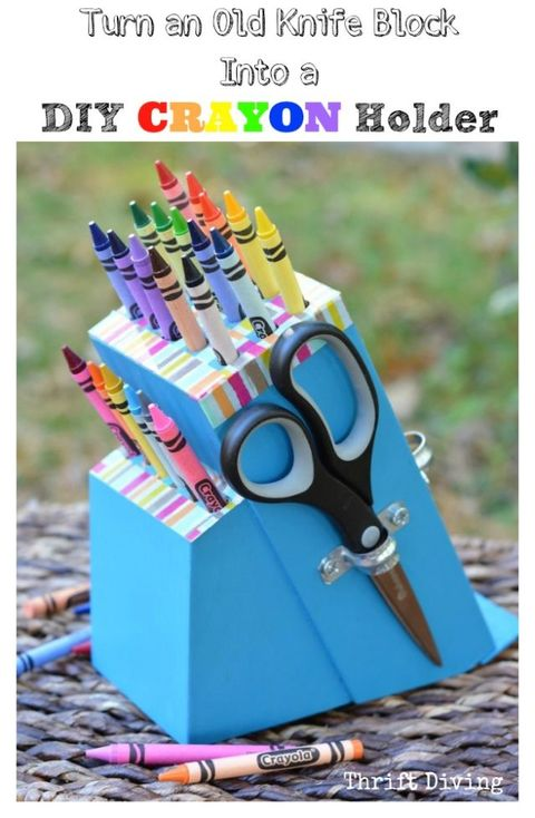 """<p>With the help of a drill (and some bold paint), this knife block gets a second life as a kid-friendly art station.</p><p><a href=""""http://www.thriftdiving.com/diy-crayon-holder-from-a-knife-block/""""><em>Get the tutorial at Thrift Diving »</em></a></p>"""