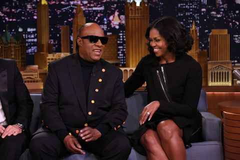 Stevie Wonder is greeted by First Lady Michelle Obama on The Tonight Show with Jimmy Fallon January 11, 2017
