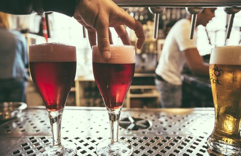 Glass, Drink, Alcoholic beverage, Beer, Barware, Alcohol, Drinkware, Beer glass, Tableware, Red,