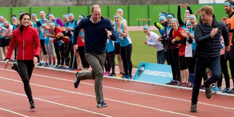 William, Kate and Harry take part in charity relay race