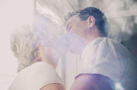 Mature couple kissing