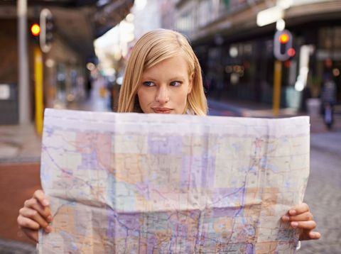 Woman map reading