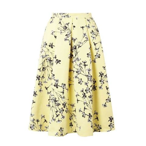 Clothing, Yellow, Waist, A-line, Dress, Beige, Day dress, Trousers,