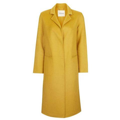 Clothing, Coat, Yellow, Trench coat, Outerwear, Overcoat, Sleeve, Collar, Dress, Jacket,