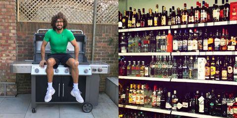 Leg, Shoe, Drink, Bottle, Glass bottle, Alcohol, Human leg, Alcoholic beverage, Distilled beverage, Drinking establishment,