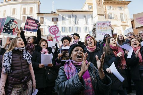 Protesters in front of the Pantheon in Rome, Italy during the Women's March on January 21, 2017. The Women's March originated in Washington DC but soon spread to be a global march calling on all concerned citizens to stand up for equality, diversity and inclusion and for women's rights to be recognised around the world as human rights. Global marches are now being held, on the same day, across seven continents.
