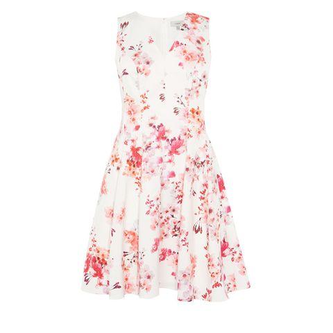 Textile, White, Dress, One-piece garment, Pattern, Pink, Day dress, Orange, Peach, Pattern,