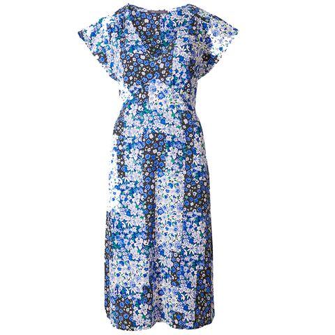 Clothing, Day dress, Dress, Blue, Sleeve, Aqua, One-piece garment, Cocktail dress, Pattern, Electric blue,