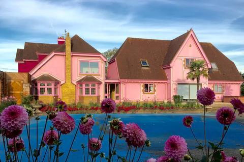Pink, House, Home, Property, Flower, Building, Real estate, Plant, Sky, Spring,