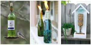 recycled bottles in your garden