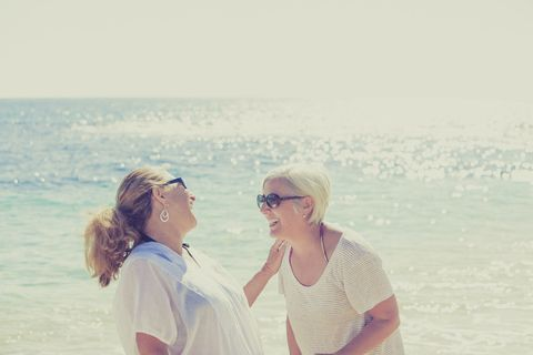 Eyewear, Body of water, Glasses, Vision care, People on beach, Tourism, Happy, Leisure, Sunglasses, Ocean,