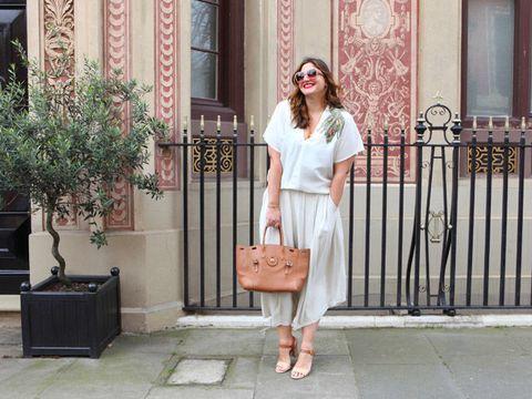 White, Clothing, Pink, Street fashion, Fashion, Dress, Footwear, Shoulder, Waist, Shoe,