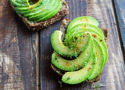 Sliced avocado on toast