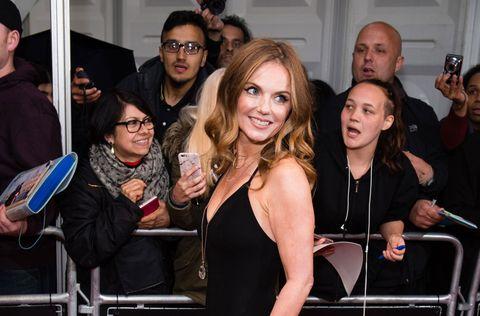 Geri Horner, ex-Spice Girl, posing on the red carpet at the Glamour UK Awards