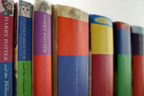 Harry Potter books lined up