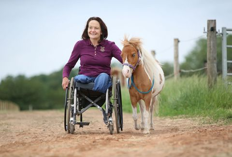 Miniature horse Monet walking alongside Jane Lishman, a para-dressage rider from Darlington