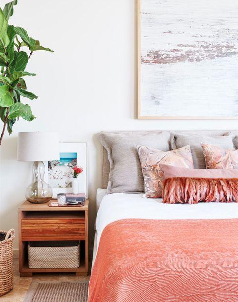 Bedroom, Furniture, Room, Bed, Property, Interior design, Wall, Bedding, Pink, Bed sheet,