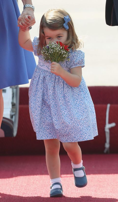 BERLIN, GERMANY - JULY 19: Princess Charlotte of Cambridge arrives at Berlin Tegel Airport during an official visit to Poland and Germany on July 19, 2017 in Berlin, Germany. (Photo by Chris Jackson/Getty Images)