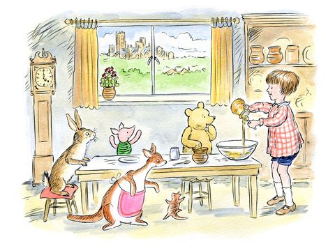 Winne the Pooh and friends around the table