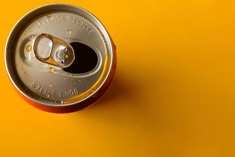 Beverage can, Yellow, Aluminum can, Auto part, Speedometer, Tin can, Measuring instrument, Circle,