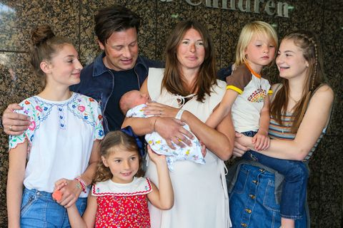 Jools Oliver with family