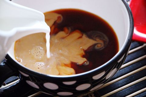 Pouring milk in tea
