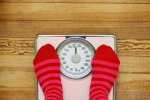 Woman in socks standing on weighing scales
