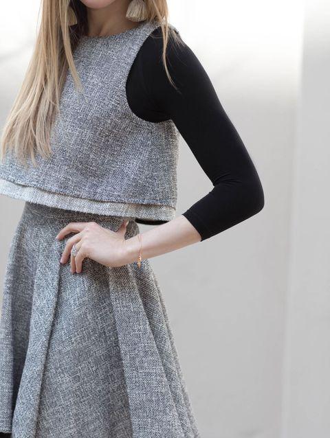 Clothing, White, Shoulder, Waist, Neck, Outerwear, Dress, Sleeve, Grey, Fashion,