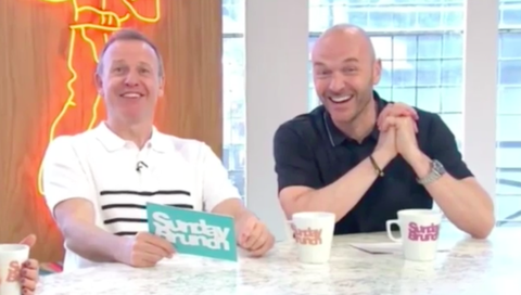 Tim Lovejoy and Simon Rimmer laughing at live blunder on Sunday Brunch (June 11)