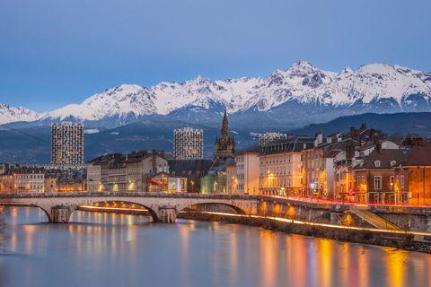 Sky, Reflection, Mountain range, Mountain, Landmark, Water, City, Town, Daytime, Night,