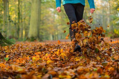 Woman walking autumn