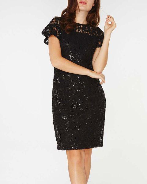 Clothing, Dress, Cocktail dress, Fashion model, Day dress, Little black dress, Shoulder, Neck, Sleeve, Sheath dress,